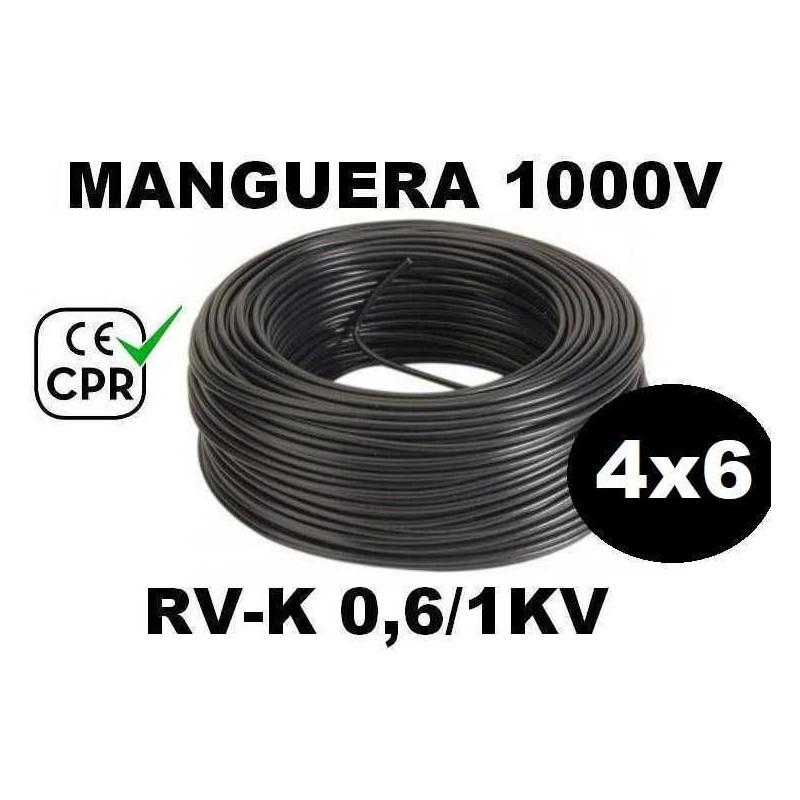 Manguera 1000v 4x6mm2 flexible pvc RV-K 0.6/1KV CE CPR 100 Metros