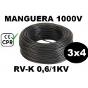 Manguera 1000v 3x4mm2 flexible pvc RV-K 0.6/1KV CE CPR 100 Metros