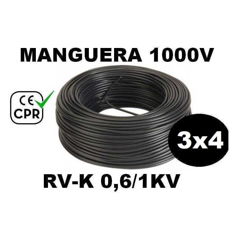 Manguera 1000v 3x4mm2 flexible pvc RV-K 0.6/1KV CE CPR 100 Metros
