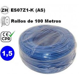 Cable flexible 1x1.5mm2 azul libre halogenos 750v CE CPR 100 Metros