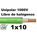 Cable 1000V 1x10mm2 flexible libre halogenos RZ1-K AS 0.6/1KV CE CPR Al Corte