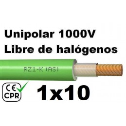 Cable 1000V 1x10mm2 flexible libre halogenos RZ1-K AS 0.6/1KV CE CPR