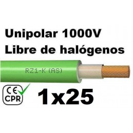 Cable 1000V 1x25mm2 flexible libre halogenos RZ1-K AS 0.6/1KV CE CPR Al Corte