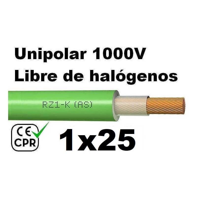 Cable 1000V 1x25mm2 flexible libre halogenos RZ1-K AS 0.6/1KV CE CPR Al Corte