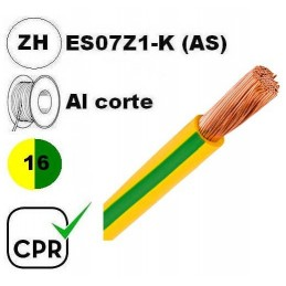 Cable flexible 1x16mm2 tierra libre halogenos 750v CE CPR Al Corte