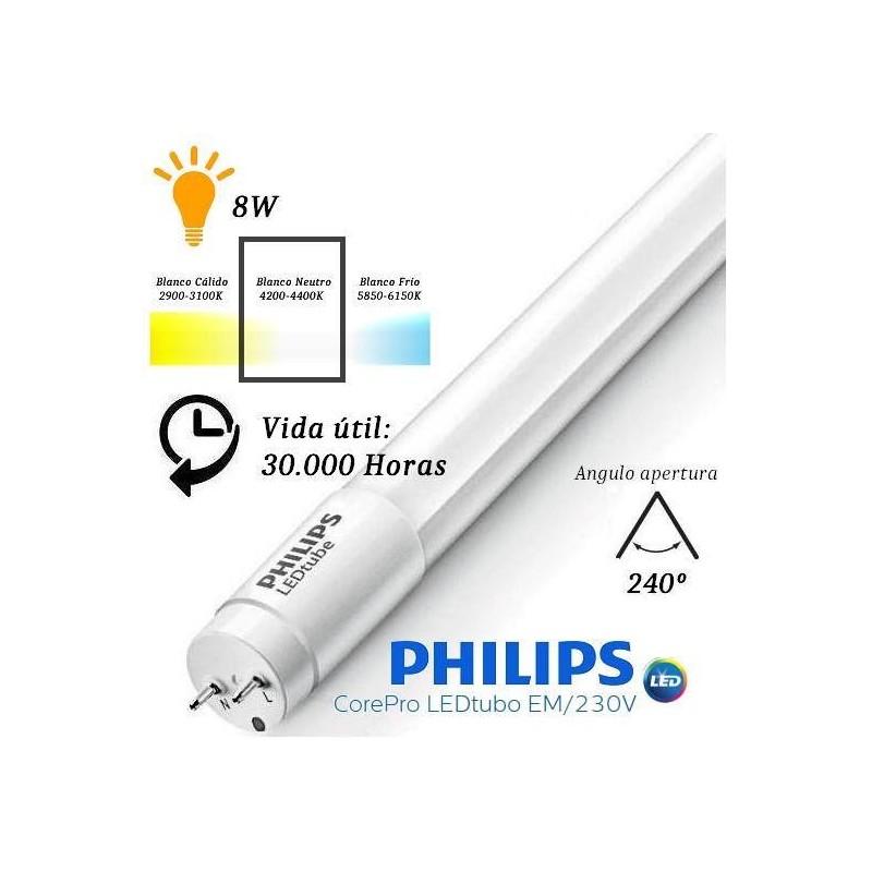 10 Tubos Led 600mm 4000K Blanco Neutro T8 G13 Philips CorePro LEDtube 8W/840