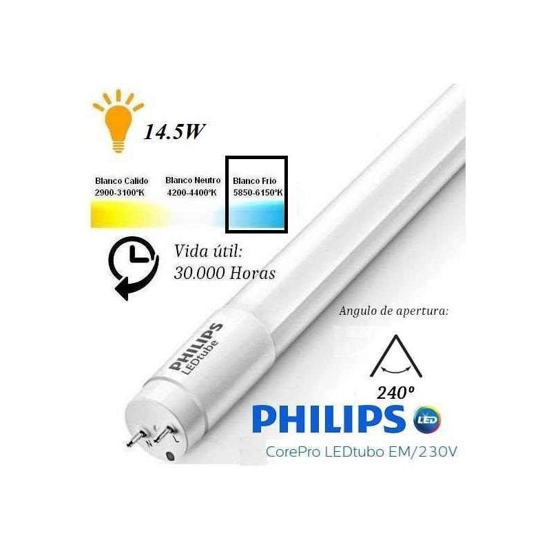 10 Tubos Led 1200mm 6500K Blanco Frio T8 G13 Philips CorePro LEDtube 14.5W/865