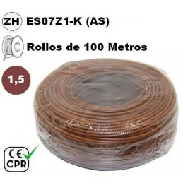 Cable flexible 1x1.5mm2 marron libre halogenos 750v CE CPR 100 Metros