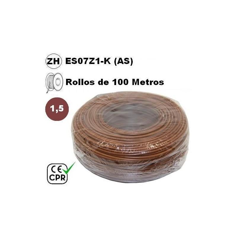Cable flexible 1x1.5mm2 marron libre halogenos 750v CE CPR 100 Metros