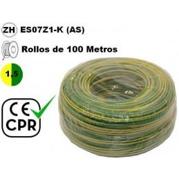 Cable flexible 1x1.5mm2 tierra libre halogenos 750v CE CPR 100 Metros