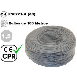 Cable flexible 1x1.5mm2 gris libre halogenos 750v CE CPR 100 Metros