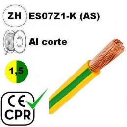 Cable flexible 1x1.5mm2 tierra libre halogenos 750v CE CPR Al Corte