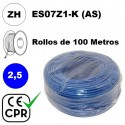 Cable flexible 1x2.5mm2 azul libre halogenos 750v CE CPR 100 Metros