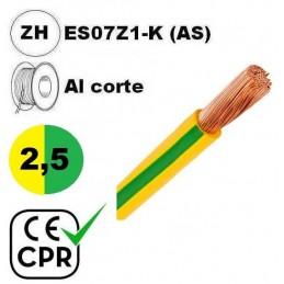 Cable flexible 1x2.5mm2 tierra libre halogenos 750v CE CPR Al Corte