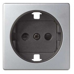 Tapa enchufe schuko TT seguridad aluminio+grafito Serie 82 Simon 82041-33