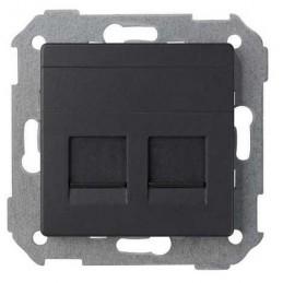 Tecla para 2 conectores AMP ancha grafito Serie 82 Simon 82006-38