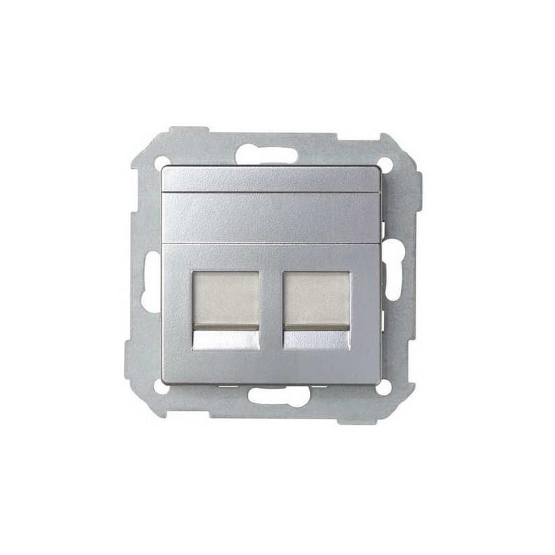 Tecla para 2 conectores AMP ancha aluminio Serie 82 Simon 82006-33