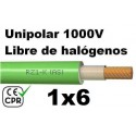 Cable 1000V 1x6mm2 flexible libre halogenos RZ1-K AS 0.6/1KV CE CPR