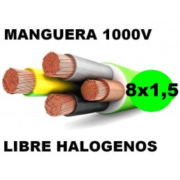Manguera 1000v 8x1.5mm2 flexible libre halogenos RZ1-K AS 0.6/1KV Al Corte