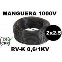 Manguera 1000v 2x2.5mm2 flexible pvc RV-K 0.6/1KV CE CPR 100 Metros
