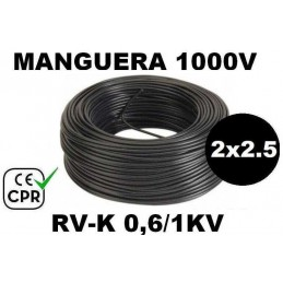 Manguera 1000v 2x2.5mm2 flexible pvc RV-K 0.6/1KV CE CPR 100 Metros