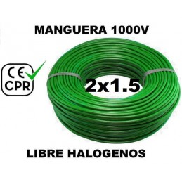 Manguera 1000v 2x1.5mm2 flexible libre halogenos RZ1-K AS 0.6/1KV CE CPR 100 Metros