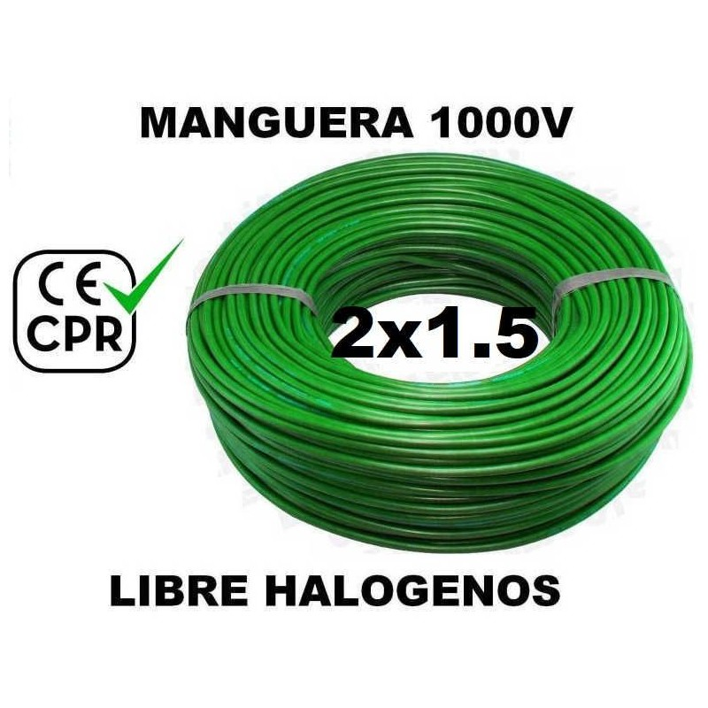 Manguera 1000v 2x1.5mm2 flexible libre halogenos RZ1-K AS 0.6/1KV CE CPR 100 Metros