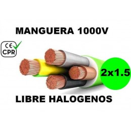 Manguera 1000v 2x1.5mm2 flexible libre halogenos RZ1-K AS 0.6/1KV CE CPR Al Corte