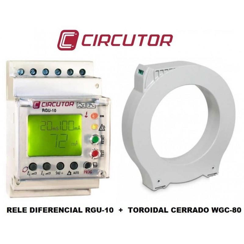 Kit Relé Diferencial Rearme Automático 0.03/30Amp RGU-10 Circutor P11941 y Toroidal cerrado diametro 80mm WGC-80 Circutor P10154