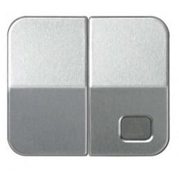 Tecla doble simbolo campana grupo 1 conmutador+1 pulsador aluminio mate Serie 75 Simon 75027-33