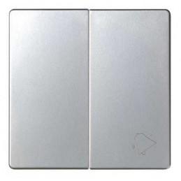 Tecla doble simbolo campana grupo 1 conmutador+1 pulsador aluminio Serie 82 Simon 82027-33