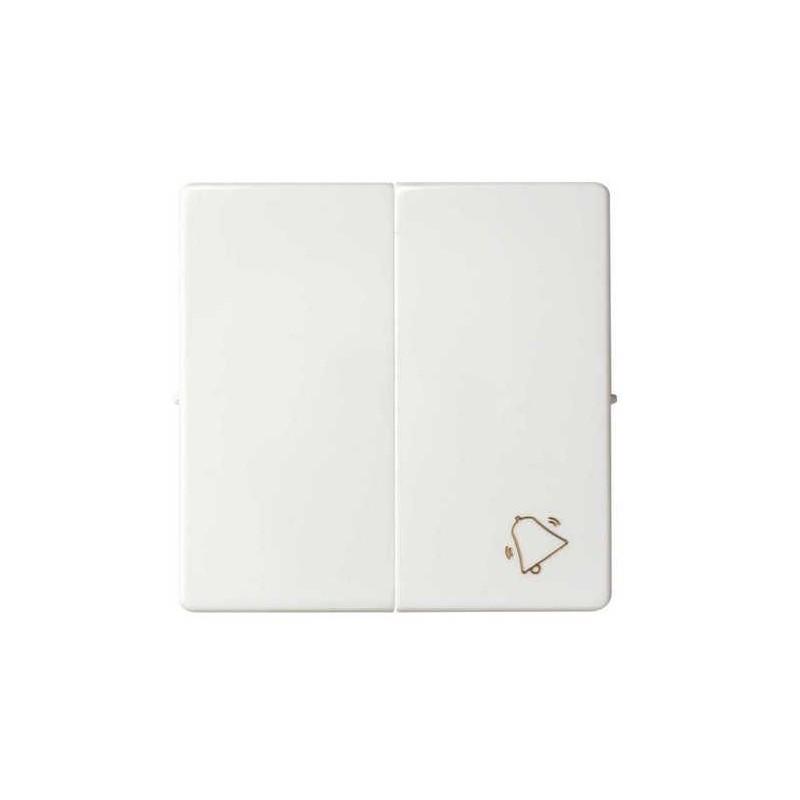 Tecla doble simbolo campana grupo 1 conmutador+1 pulsador blanca Serie 82 Simon 82027-30
