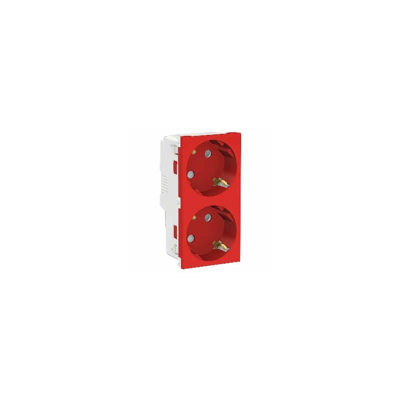 Enchufe doble tt lateral rojo 10/16V proteccion infantil Eunea U3.067.03